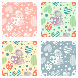 Set of seamless vector patterns with hearts. Background with hand drawn ornamental symbols. Template for wrapping, decor, surface, Stock Image