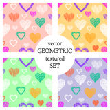 Set of seamless vector patterns with hearts. endless symmetrical backgrounds with hand drawn textured figures. Graphic illustratio. N Template for wrapping, web Royalty Free Stock Images