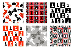 Set of seamless vector patterns with icons of chess Stock Photography