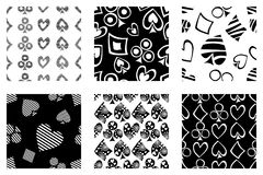 Set of seamless vector patterns with icons of playings cards. background with hand drawn symbols. Black and white Decorative repea. T ornament. Series of Gaming stock illustration