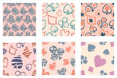 Set of seamless vector patterns with icons of playings cards. Royalty Free Stock Image