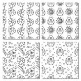 Set of seamless vector patterns with insects. Different black and white backgrounds with ladybugs, flowers, leaves. Graphic vector illustrations. Series - sets vector illustration