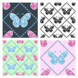 Set of seamless vector patterns with insects, Royalty Free Stock Photo