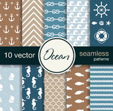Set of 10 seamless vector patterns. Nautical theme. Royalty Free Stock Photos