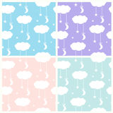 Set of seamless vector patterns with a night sky in a baby style Royalty Free Stock Photos