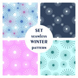 Set of seamless vector patterns. Seasonal winter different background with snowflakes Stock Image