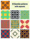 Set of seamless vector patterns. 10 seamless vector patterns with squares Stock Illustration