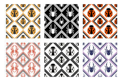 Set of seamless vector patterns, symmetrical geometric backgrounds with spider and ladybug. Royalty Free Stock Photography