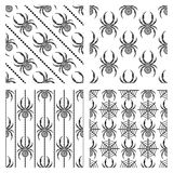Set of seamless vector patterns, symmetrical geometric backgrounds with spiders. Stock Photos