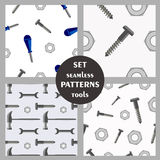 Set of seamless vector patterns with tools Royalty Free Stock Photo