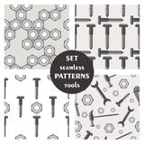 Set of seamless vector patterns with tools stock illustration