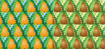 Set of seamless vector pears Stock Photo