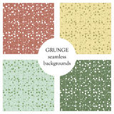 Set of seamless vector textures. Grunge checkered backgrounds with dots, attrition, cracks. Old style abstract vintage design. Gra Royalty Free Stock Photo