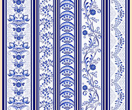 Set of seamless vertical borders in the ethnic style of painting on porcelain. Stock Images