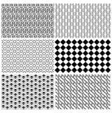 Set of Seamless vintage disco retro pattern vector Set royalty free stock photography