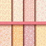 Vector set of seamless vintage floral patterns.  Stock Photo