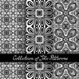 Set of 3 Seamless Vintage Patterns (Vector). Black and White Design. Hand Drawn Tile Texture, Ethnic Ornament Royalty Free Stock Photography