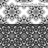 Set of 2 Seamless Vintage Patterns (Vector). Black and White Design. Hand Drawn Tile Texture, Ethnic Ornament Stock Photography