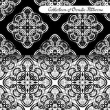 Set of 2 Seamless Vintage Patterns (Vector). Black and White Design. Hand Drawn Tile Texture, Ethnic Ornament vector illustration