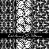 Set of 3 Seamless Vintage Patterns (Vector). Black and White Design. Hand Drawn Tile Texture, Ethnic Ornament Stock Images