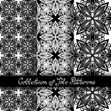 Set of 3 Seamless Vintage Patterns (Vector). Black and White Design. Hand Drawn Tile Texture, Ethnic Ornament Stock Photos