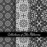 Set of 3 Seamless Vintage Patterns (Vector). Black and White Design. Hand Drawn Tile Texture, Ethnic Ornament Royalty Free Stock Photo