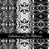Set of 3 Seamless Vintage Patterns (Vector). Black and White Design. Hand Drawn Tile Texture, Ethnic Ornament Stock Image