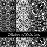 Set of 3 Seamless Vintage Patterns (Vector). Black and White Design. Hand Drawn Tile Texture, Ethnic Ornament Stock Photo