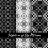 Set of 3 Seamless Vintage Patterns (Vector. ). Black and White Design. Hand Drawn Tile Texture, Ethnic Ornament Stock Photo