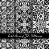 Set of 3 Seamless Vintage Patterns (Vector. ). Black and White Design. Hand Drawn Tile Texture, Ethnic Ornament Stock Images