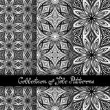 Set of 3 Seamless Vintage Patterns (Vector. ). Black and White Design. Hand Drawn Tile Texture, Ethnic Ornament Royalty Free Stock Images