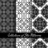 Set of 3 Seamless Vintage Patterns (Vector. ). Black and White Design. Hand Drawn Tile Texture, Ethnic Ornament royalty free illustration