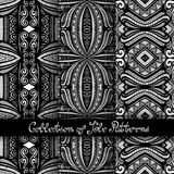 Set of 3 Seamless Vintage Patterns (Vector. ). Black and White Design. Hand Drawn Tile Texture, Ethnic Ornament stock illustration