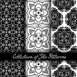 Set of 3 Seamless Vintage Patterns (Vector. ). Black and White Design. Hand Drawn Tile Texture, Ethnic Ornament Stock Photos