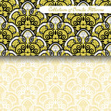 Set of 2 Seamless Vintage Patterns (Vector). Colored Design. Hand Drawn Tile Texture, Ethnic Ornament Stock Image