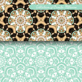 Set of 2 Seamless Vintage Patterns (Vector). Colored Design. Hand Drawn Tile Texture, Ethnic Ornament royalty free illustration