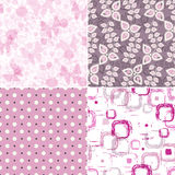 Set seamless vintage pink pattern. Set seamless pink grunge patterns with polka dots, spots and butterflies (vector EPS 10 Stock Image