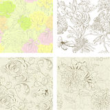 Set of seamless wallpaper. Universal template for greeting card, web page, background Stock Photos