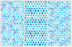 Set of seamless watercolor patterns. Simple geometric shapes. Royalty Free Stock Photography