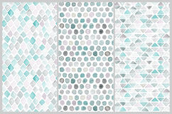 Set of seamless watercolor patterns. Simple geometric shapes. Stock Images