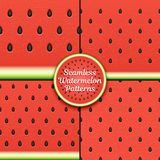 Set of seamless watermelon patterns. Surface textures of watermelon pulp with seeds. Vector illustration Eps 10 Stock Photography