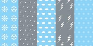 Set of seamless weather patterns Royalty Free Stock Image