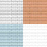 Set seamless white flat brick wall Stock Image