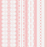 Set of seamless white lace ribbons on a pink background for scrapbooking. Royalty Free Stock Photos