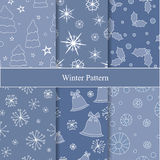 Set of seamless winter background. christmas pattern. Illustration Royalty Free Stock Photos