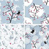 Set of seamless winter patterns with birds. Set of seamless winter patterns with birds and plants. Vector repeating backgrounds Stock Illustration