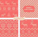 Set of seamless wrapping paper for Christmas gift Royalty Free Stock Images