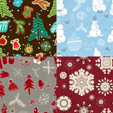 Set of seamless wrapping paper for Christmas gift Stock Images
