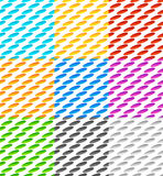 Set of 9 seamlessly repeatable geometric pattern with slanted ov Stock Images