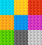 Set of 9 seamlessly repeatable geometric patterns Stock Image